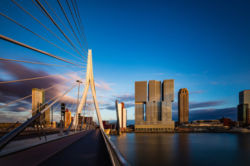 Keuken foto achterwand Rotterdam Erasmus Brücke, Rotterdam, Holland, Niederlande