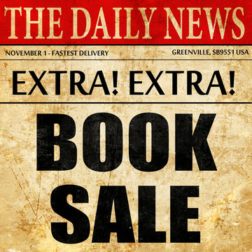 book sale, article text in newspaper