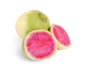 Whole and Sliced Watermelon radish isolated