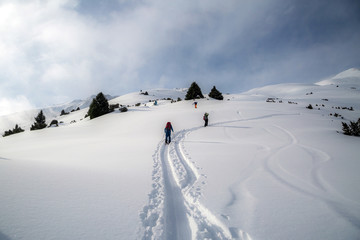Man standing at top of ridge. Ski touring in mountains. Adventure winter extreme sport. kyrgyzstan. Tian-Shan
