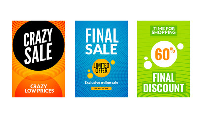 Sale flyers set with discount offer. Season best price poster template. Market banners shopping big discounts