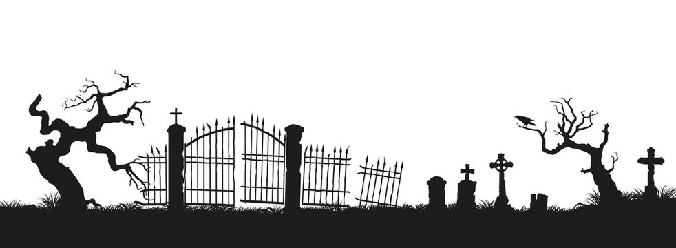 Black silhouettes of tombstones, crosses and gravestones. Elements of cemetery. Graveyard panorama