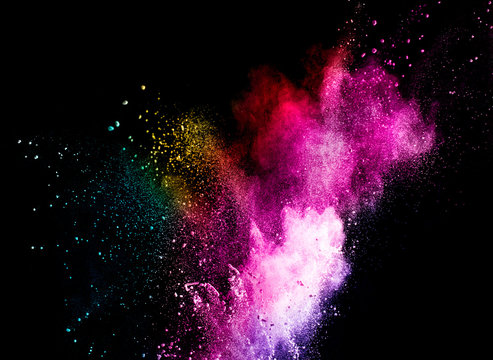 abstract powder color explosion isolated on black background.