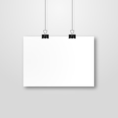 Paper poster mockup design. Paper sheet blank template. Frame on wall portfolio concept. Vector gallery
