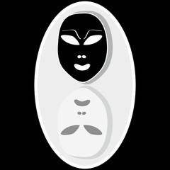 Masks on black background