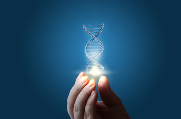 DNA in hand on blue background. Wall mural