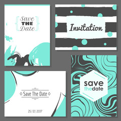 Set of romantic abstract cards