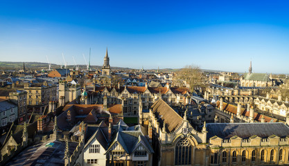 Cityscape of Oxford, a city in South East England, county town of Oxfordshire and home of University of Oxford. Panoramic view of Oxford city.