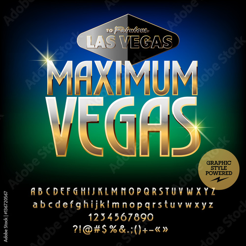 Vector Casino Logo Maximum Vegas Set Of Letters Numbers And
