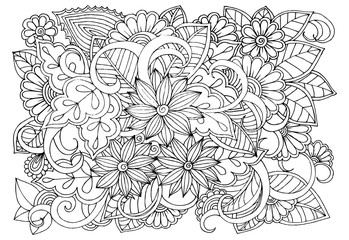 Doodle floral pattern in black and white. Page for coloring book