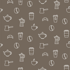 Coffee line icons seamless brown vector pattern. Barista tools background.