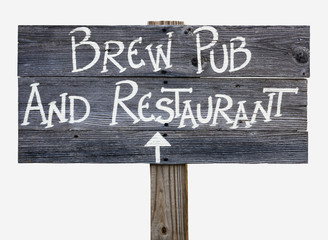 BREW PUB AND RESTAURANT sign. Wood. Handmade. Isolated.