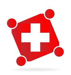 Team handle people around cross logo vector