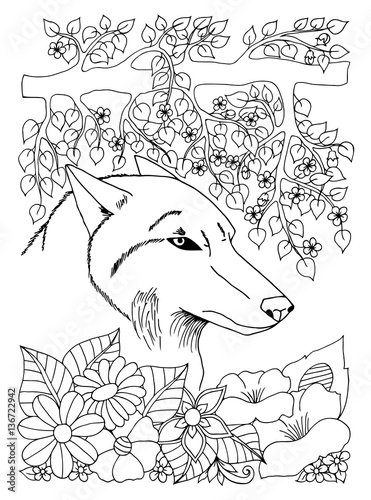 Vector Illustration Portrait Of The Wolf Among Flowers And Tree Branches Work Done