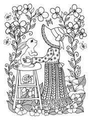 Vector illustration girl embraces of the rabbit a seated on the bench in the flowers. Work Made by hand. Book Coloring anti-stress for adults and children. Black and white.