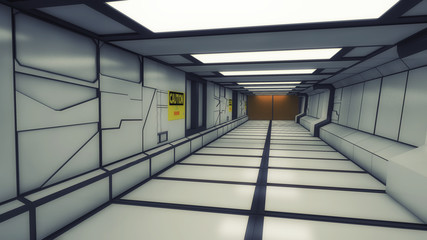 3d Futuristic interior of a spacecraft