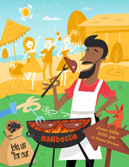 BBQ poster in mid century style. A cheerful man with the dog is cooking steak barbecue outdoors. Summer background with friends and beers on the picnic in the garden. 1950s. Easy editable.