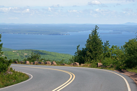 Road to Acadia National Park on Cadillac Mountain. State of Maine, USA