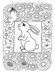 Vector illustration, bunny surrounded flowers looks at birdie. Work made by hand. Book Coloring anti-stress for adults and children. Black and white.