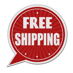 Free shipping red speech bubble label or sign