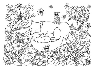 Vector illustration peacefully asleep chanterelle and hare among the flowers. Work done by hand. Book Coloring anti-stress for adults and children. Black and white.