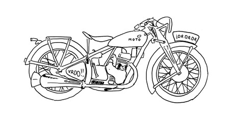 Vintage Motorcycle. Hand drawn vector illustration.