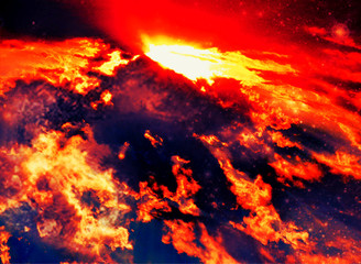 Volcano red abstract lava heaven clouds image
