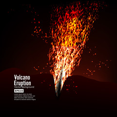 Eruption Volcano Vector. Thunderstorm Sparks. Big And Heavy Explosion From The Mountain. Spewing Glowing Red Hot Lava.