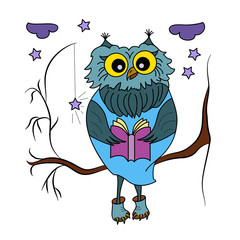 Cute cartoon owl. Owl reads a book sitting on a tree branch. Doodles art. Printing on T-shirts, banners, posters, cover. Coloring page book for adults and children.