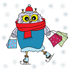 Cute cartoon owl. Funny owl in winter clothes with gift bag. Doodles art. Printing on T-shirts, banners, posters, cover. Coloring page book for adults and children.Winter shopping.