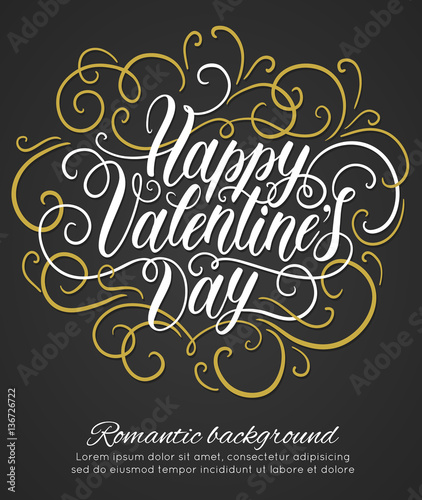 Happy Valentine S Day Hand Lettering Romantic Background Can Be