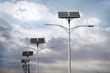 Solar panels used for street lighting. Fotomurales