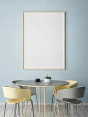 Mock up poser with dining table, 3d illustration