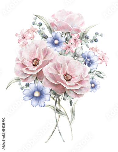 Watercolor flowers floral illustration in pastel colors rose bunch watercolor flowers floral illustration in pastel colors rose bunch of pink blue flowers mightylinksfo