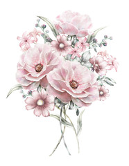 watercolor flowers. floral illustration in Pastel colors  rose. bunch of pink flowers isolated on white background. herbs, Leaf. Cute composition for wedding or greeting card. romantic bouquet