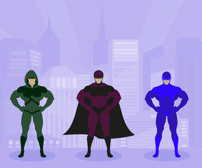 Strong men in costumes protect city vector illustration