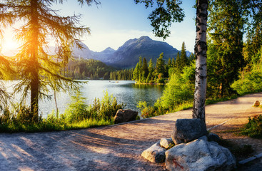 Majestic mountain lake in National Park High Tatra. Strbske ples Wall mural