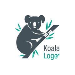 Graphic silhouette of a koala bear sitting on a branch with leaves of eucalyptus. Isolated vector illustration for logo and design.