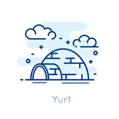 Icon Yurt on white background. Thin line flat design. Vector.