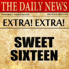 sweet sixteen, article text in newspaper