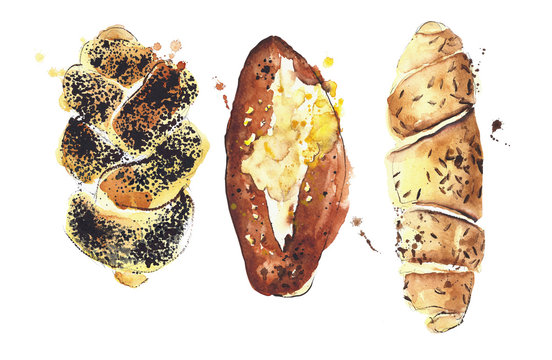 Bread assortment watercolor illustration isolated on white background