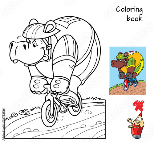 hippo rides a bike coloring book cartoon vector illustration - Bicycle Coloring Book