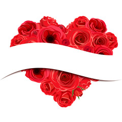 Vector Valentine banner with red roses heart bouquet.