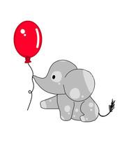Elephant Baby Red Balloon
