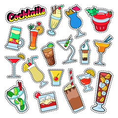 Cocktails and Drinks Set for Stickers, Badges and Patches. Vector illustration