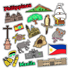 Philippines Travel Set with Architecture and Animals for Prints, Stickers and Badges. Vector doodle