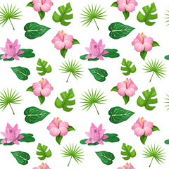 Tropical Flowers and Leaves Seamless Pattern. Vector background