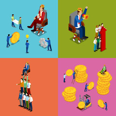 Isometric Business People. Team Work, Money Investment and Financial Success Concept. Vector 3d flat illustration