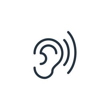 ear thin line icon set on white background, audio, music, flat, minimalistic