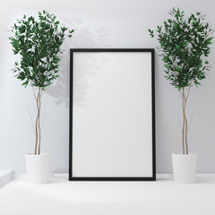 Poster frame mockup with green home flovers. 3d rendering